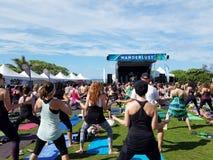 Mouvement de yogi dans l'adieu : classe blissed et bénie de yoga Photographie stock libre de droits