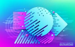 Mouvement dynamique des formes géométriques Forme plate bleue et violette sur le fond lumineux Image abstraite futuriste colorée illustration stock