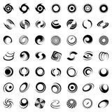 Mouvement et rotation spiralés. 49 éléments de conception. Photo libre de droits