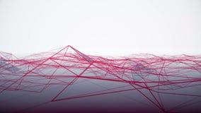 Mouvement extérieur numérique dynamique de plexus Boucle reliée ensemble Particules se déplaçant lentement, fond blanc illustration stock