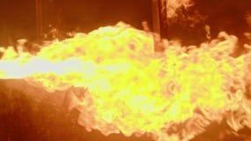 Mouvement lent d'un feu brûlant avec de grandes flammes banque de vidéos