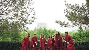 Mouvement lent des diplômés heureux enlevant des chapeaux de taloche, les jetant dans le ciel, les riant et attrapant sautant alo banque de vidéos