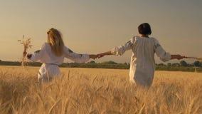 Mouvement lent, deux belles femmes dans des chemises nationales avec des épillets de blé dans la course de mains le long des main banque de vidéos