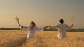 Mouvement lent, deux belles femmes dans des chemises nationales avec des épillets de blé dans la promenade de mains sur des mains banque de vidéos