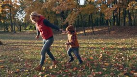Mouvement lent La mère heureuse et le fils jouant en automne se garent avec les feuilles jaunes banque de vidéos