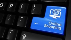 Mouvement mobile d'achats en ligne sur le bouton de clavier d'ordinateur clips vidéos