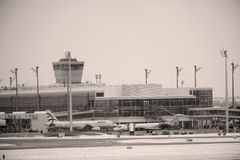 Mouvement plat dans l'aéroport MUC de Munich Photos libres de droits