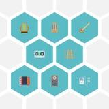 Mouvement plat de rythme d'icônes, bande, instrument de musique et d'autres éléments de vecteur Ensemble de Melody Flat Icons Sym Image stock