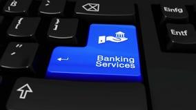 Mouvement rond de services bancaires sur le bouton de clavier d'ordinateur illustration stock