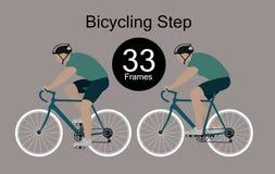 Mouvements rythmiques du cycliste illustration stock