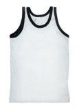 Mouwloos onderhemd dat op wit wordt geïsoleerd Stock Foto's