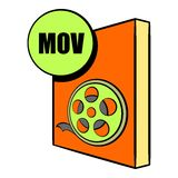 MOV file icon cartoon. MOV file icon in cartoon style isolated vector illustration royalty free illustration