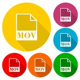 MOV file icons set with long shadow. Vector icon Royalty Free Stock Image
