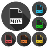 MOV file icons set with long shadow. Vector icon Royalty Free Stock Images