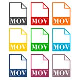 MOV file icons set. Vector icon stock illustration