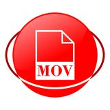 Mov file vector illustration, Red icon. Red icon, mov file vector illustration, vector icon royalty free illustration