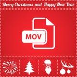 MOV Icon Vector. And bonus symbol for New Year - Santa Claus, Christmas Tree, Firework, Balls on deer antlers stock illustration