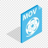 MOV video file extension isometric icon. 3d on a transparent background vector illustration Stock Image