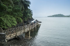 Mova para barcos na ilha tropical de São Tomé África fotografia de stock