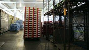 Mova sacos com frutos na máquina de carga Cultivo e logística frete filme