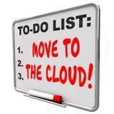 Mova-se para o serviço em linha baseado do Internet do quadro de mensagens das palavras da nuvem Fotos de Stock Royalty Free