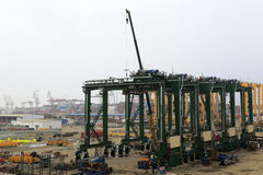Movable crane in zhangzhou port Stock Images