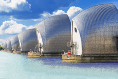 Movable flood barrier in the River Thames. Flood barrier in the River Thames east of Central London, UK Stock Photo