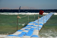 Movable jetty in a touristic resort. Sharm El Sheikh. Red sea, Egypt Royalty Free Stock Images