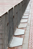 Movable metal barriers. On a city street Stock Image