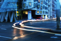 Movable Trail Lights an Dancing House Stock Photos