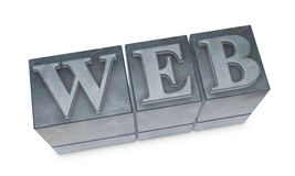 Movable type. The word WEB made with old movable type (3d render royalty free illustration