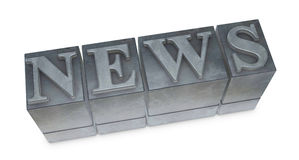 Movable type. The word NEWS made with old movable type (3d render stock illustration