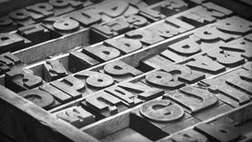 Movable type. Old movable type letters black and white picture royalty free stock image