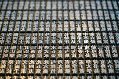 Ancient Chinese type system. Movable wood type system,an ancient printing technique invented by Chinese people Royalty Free Stock Images