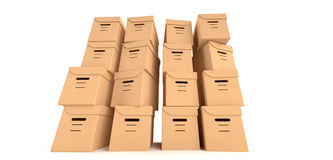 Move. Multiple cardboard boxes in perspective Stock Image