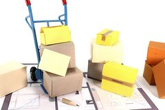 Move with boxes Royalty Free Stock Images