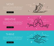 Move. Breathe. Thrive. Line vector web banners set Stock Photo