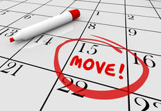 Move Date Day Moving Relocation Calendar Word Circled Stock Images