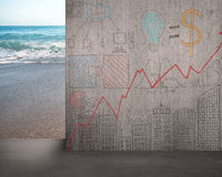 Move doodles concrete wall away with beach view Stock Photo