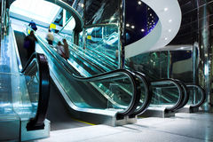 Move escalator in modern office. Centre Royalty Free Stock Images