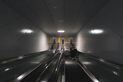 Move by escalator. The scary escalator in the country at somewhere Royalty Free Stock Image