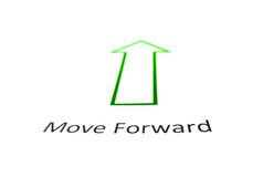 Move Forward. Text in red with green arrow Royalty Free Stock Photography