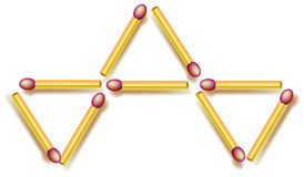 Move four matchsticks to make fife triangles. Logic puzzle. Vector image. Scale to any size without loss of resolution Stock Photos