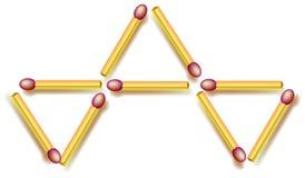 Move four matchsticks to make fife triangles. Logic puzzle. Stock Photos