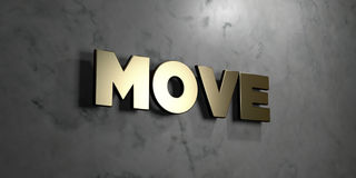 Move - Gold sign mounted on glossy marble wall  - 3D rendered royalty free stock illustration Stock Photo