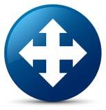 Move icon blue round button Royalty Free Stock Photo
