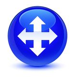 Move icon glassy blue round button Royalty Free Stock Image