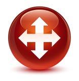 Move icon glassy brown round button Stock Photos