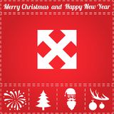 Move Icon Vector. And bonus symbol for New Year - Santa Claus, Christmas Tree, Firework, Balls on deer antlers Stock Image