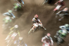 Move out of my way!!!. Motocross riders with zooming effect royalty free stock photography